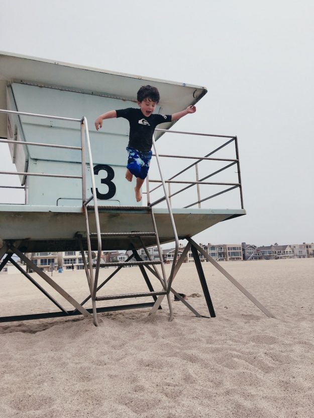 Jumping off a lifeguard stand